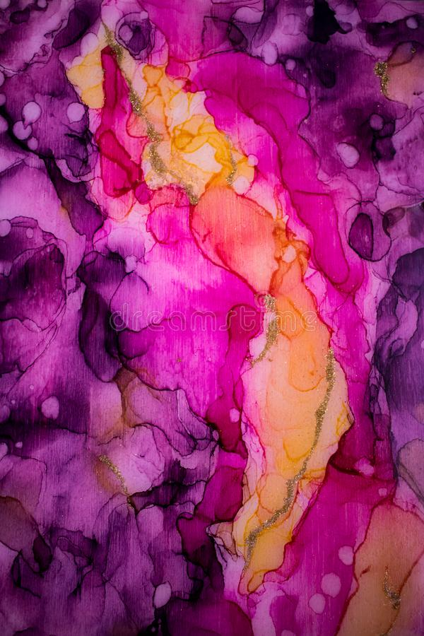 Hand Geschilderde inkttextuur abstracte achtergrond De textuur van de alcoholinkt Vloeibare inkt abstracte achtergrond kunst voor stock illustratie