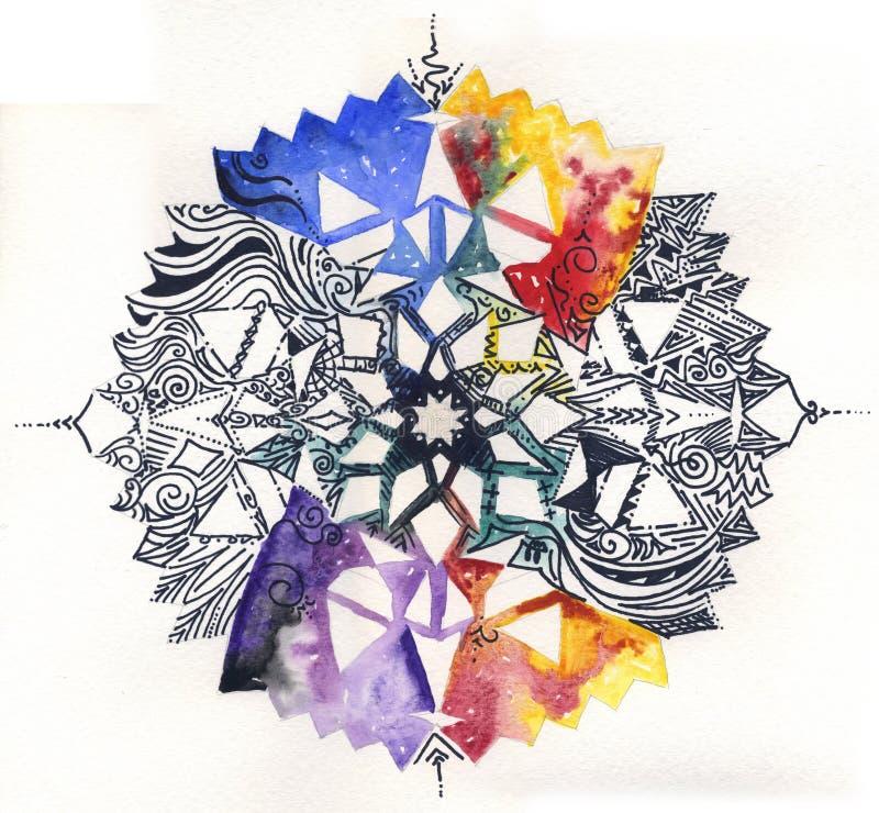 Hand geschilderde mandala royalty-vrije illustratie