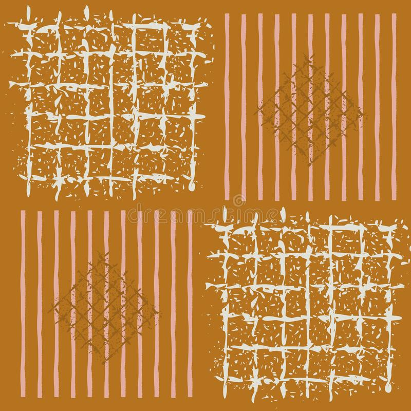 Hand geschilderde netten, gestreepte vierkanten en diamanten in geometrisch ontwerp Naadloos vectorpatroon op karamelachtergrond stock illustratie