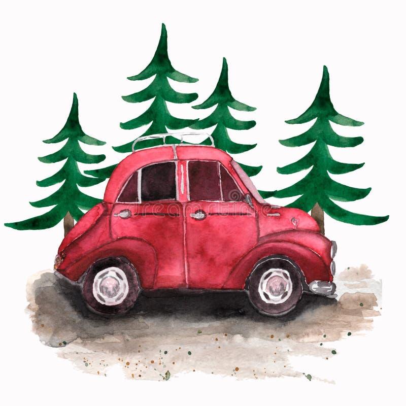 Hand geschilderde uitstekende rode auto en Kerstmisbomen Zieke waterverf vector illustratie