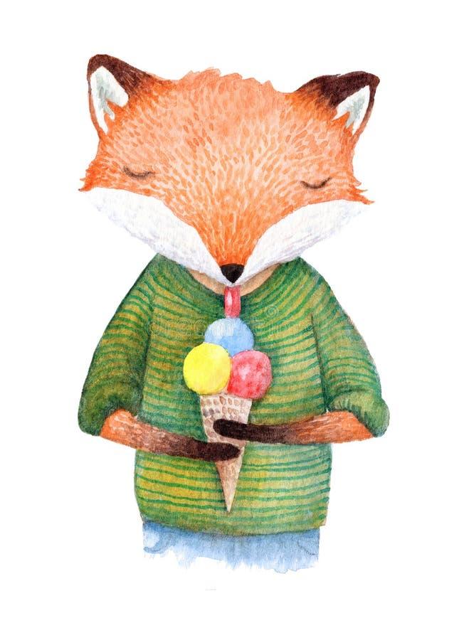 Hand geschilderde vos die een roomijs eten royalty-vrije illustratie
