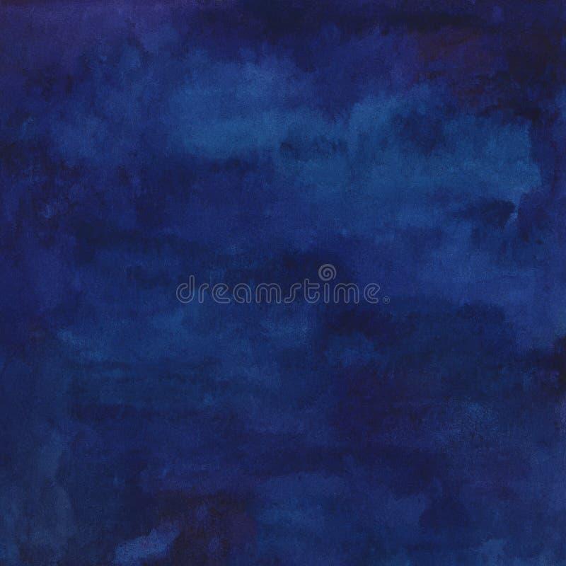Hand geschilderde waterverf abstracte marineblauwe achtergrond vector illustratie