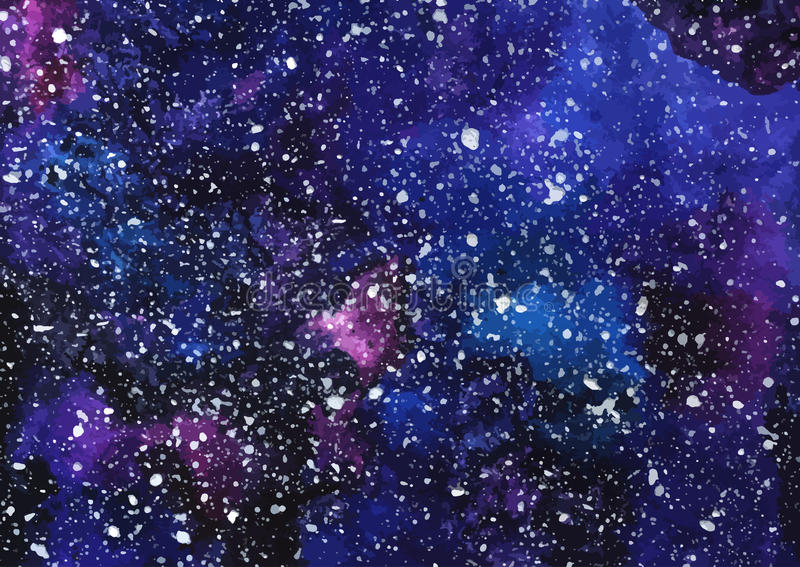 Hand geschilderde waterverf kosmische textuur met sterren stock illustratie
