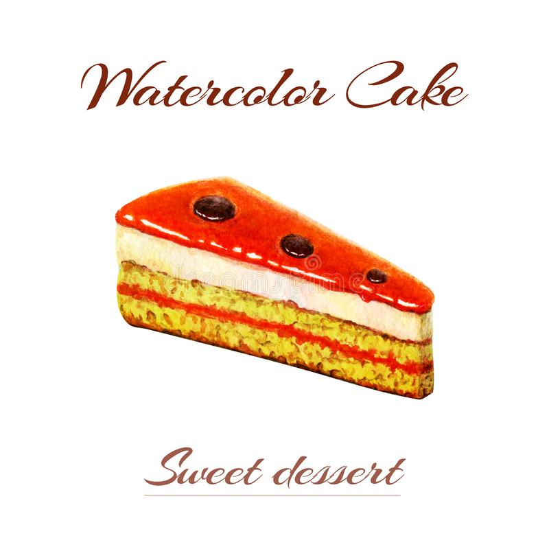 Hand geschilderde waterverfillustratie van plak van cake Cake van het waterverf de romige die koekje op witte achtergrond wordt g vector illustratie