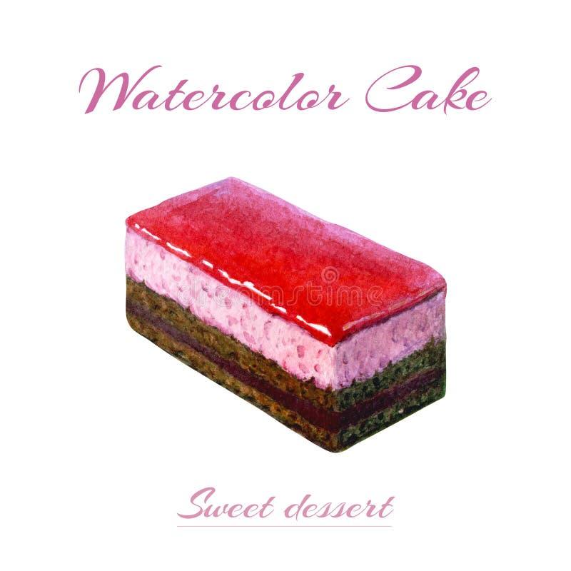 Hand geschilderde waterverfillustratie van stuk van cake Cake van het waterverf de romige die koekje op witte achtergrond wordt g vector illustratie