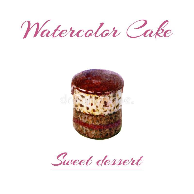 Hand geschilderde waterverfillustratie van stuk van cake Cake van het waterverf de romige die koekje op witte achtergrond wordt g royalty-vrije illustratie