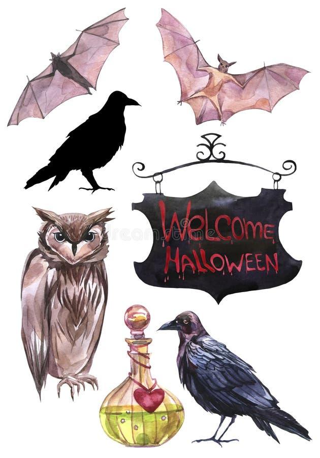 Hand geschilderde waterverfillustraties Reeks Halloween elementen royalty-vrije illustratie