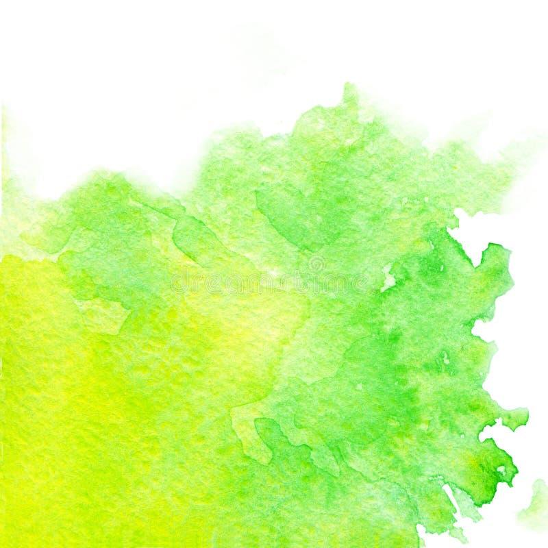Hand geschilderde waterverftextuur van heldergroene en gele kleuren vector illustratie
