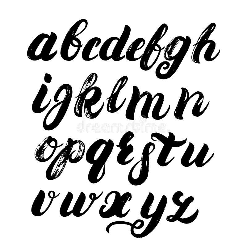 Hand geschreven borstelalfabet vector illustratie