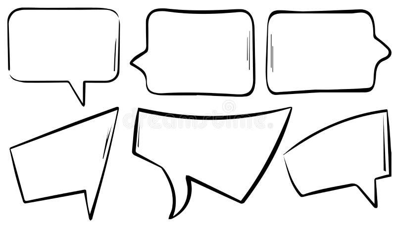 Hand Geschreven Toespraak of Tekst of Gedachte Bellen vector illustratie