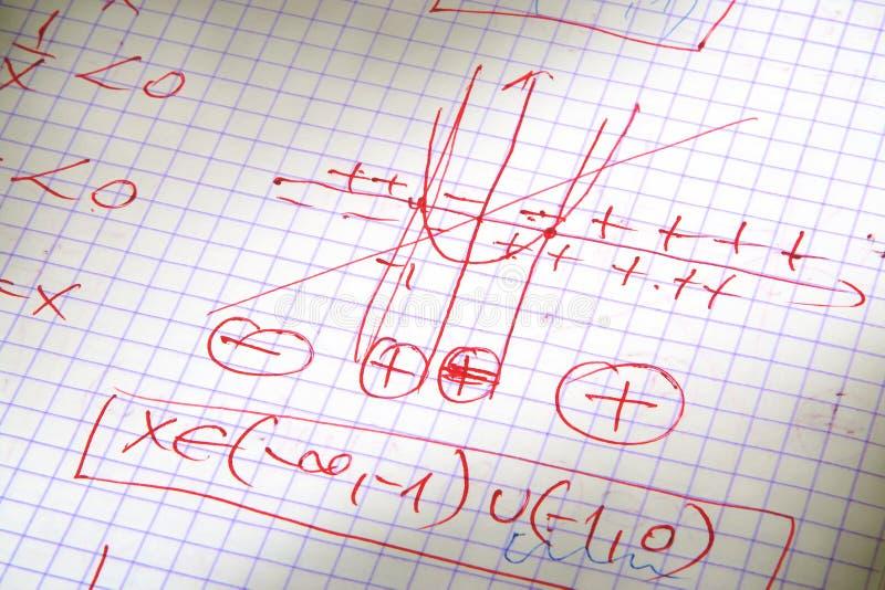 Hand geschreven wiskundeberekeningen royalty-vrije stock foto's