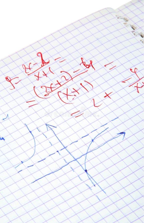 Hand geschreven wiskundeberekeningen stock afbeeldingen
