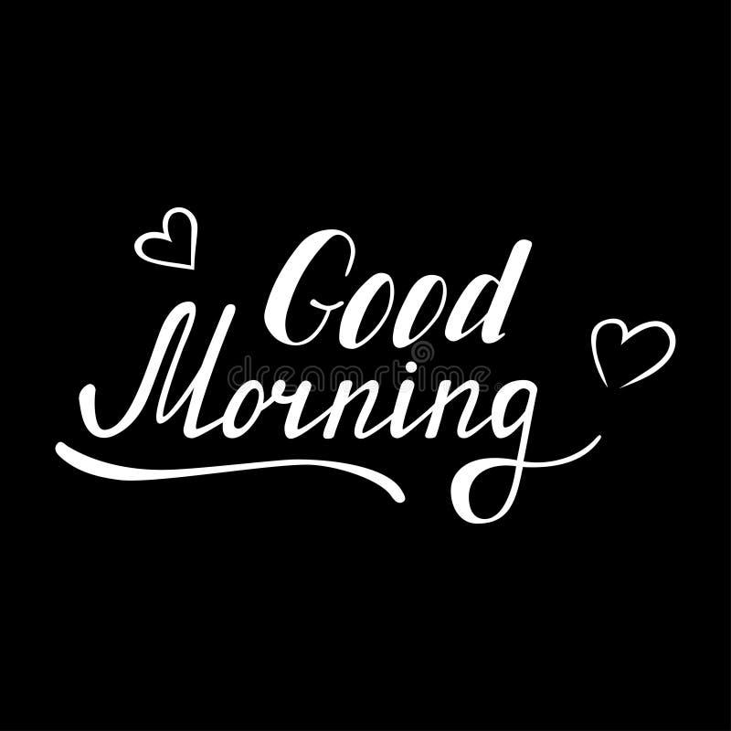 Hand Geschrieben Guten Morgen Beschriftend Vektor Abbildung