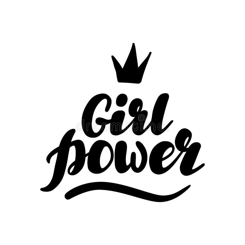 Hand geschrieben, Mädchen-Energieillustration beschriftend lizenzfreies stockbild