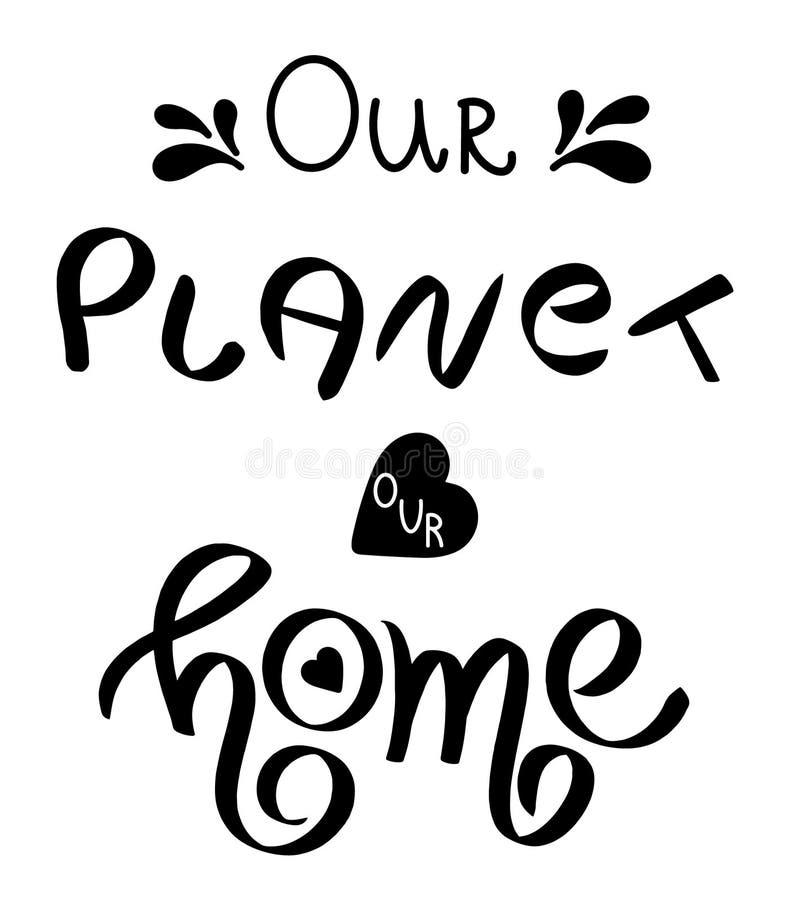 Hand geschriebener glücklicher Tag der Erde am 22. April Handgeschriebene begrifflichphrase Handmit buchstaben gekennzeichnetes k lizenzfreie abbildung