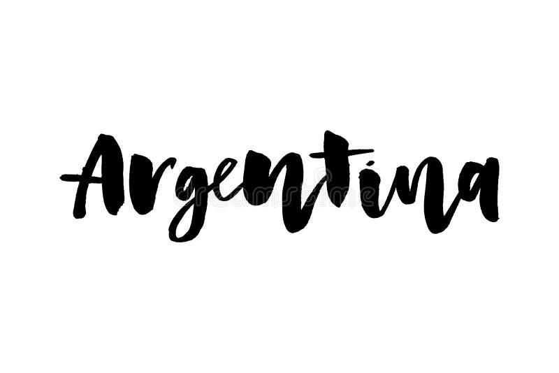 Hand geschriebenes kalligraphisches spanisches Beschriftungszitat Viva Argentina mit fallenden Konfettis in den Flaggenfarben Lok vektor abbildung