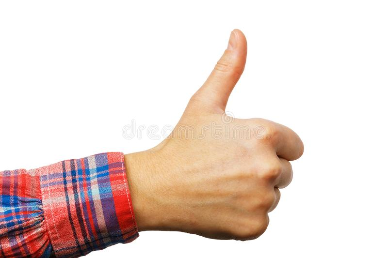 Hand with gesture all is well isolated. Thumb up. Hand with gesture all is well isolated on a white background. Thumb up stock photography