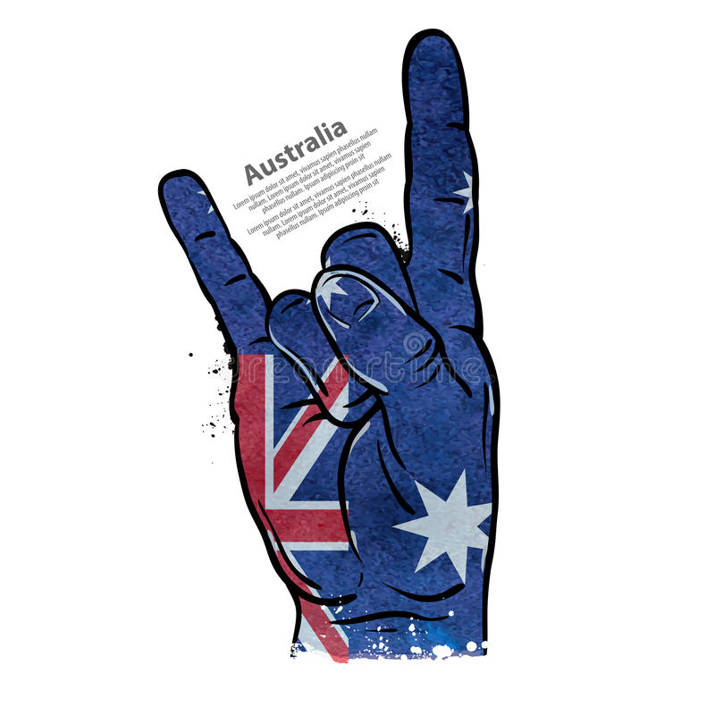 Hand gesture cool, rock and roll. flag of Australia. vector illustration royalty free illustration