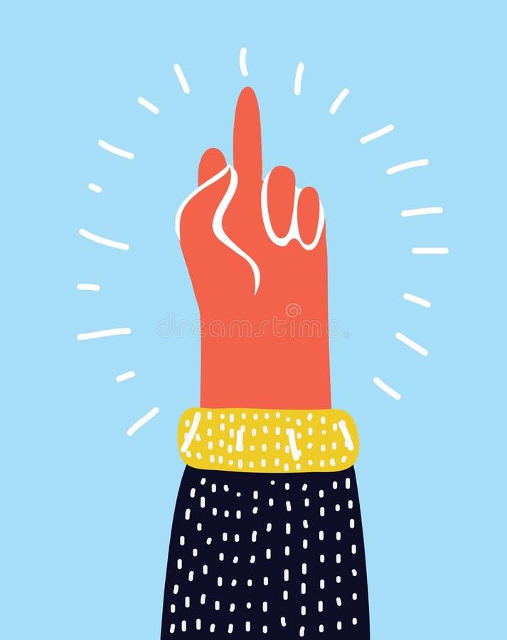 Hand gesture, You, symbol. Middle finger sign. Cartoon vector illustration, sticker stock illustration