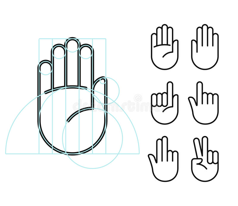 Hand gesture icons stock illustration