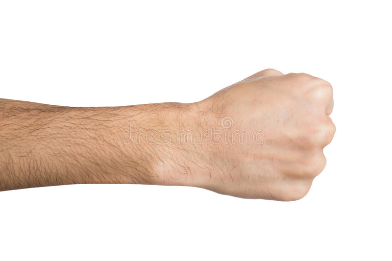 Hand gesture, man clenched fist, ready to punch isolated on white. Fight hand gesture. Man clenched fist, ready to punch, isolated on white, close-up, copy space royalty free stock photography