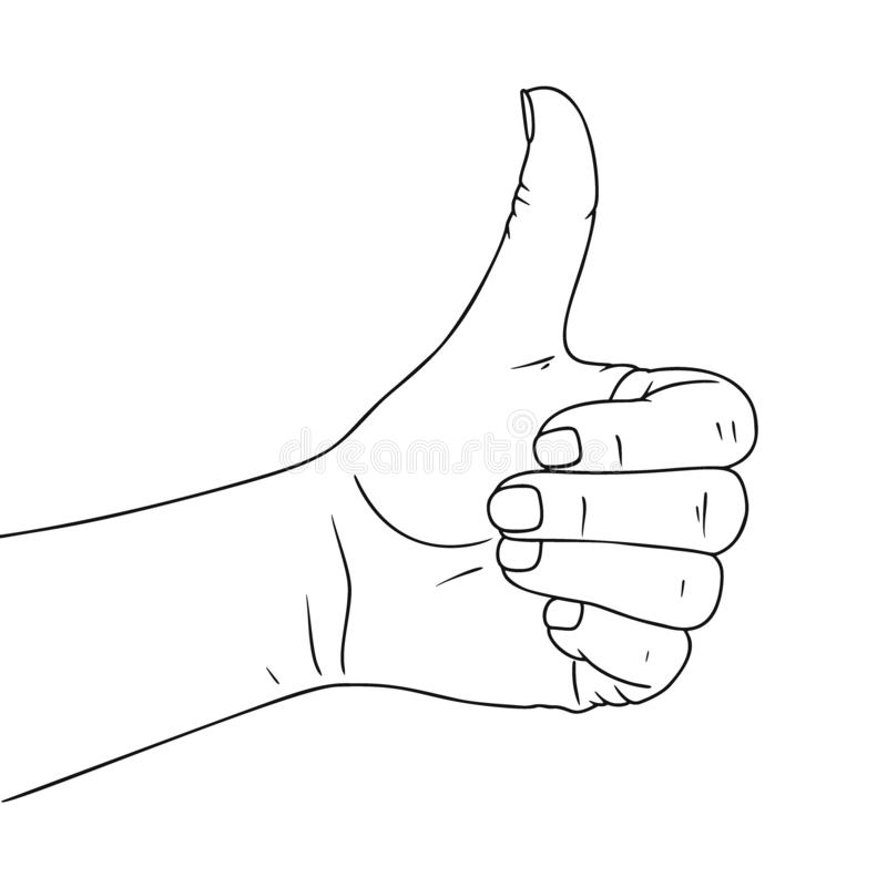 Hand gesture ok. Illustration in sketch style. Hand drawn vector illustration royalty free illustration