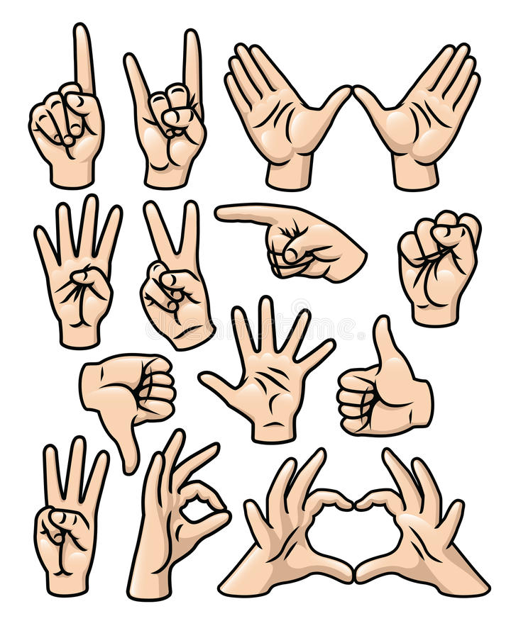 Hand Gesture Set royalty free illustration