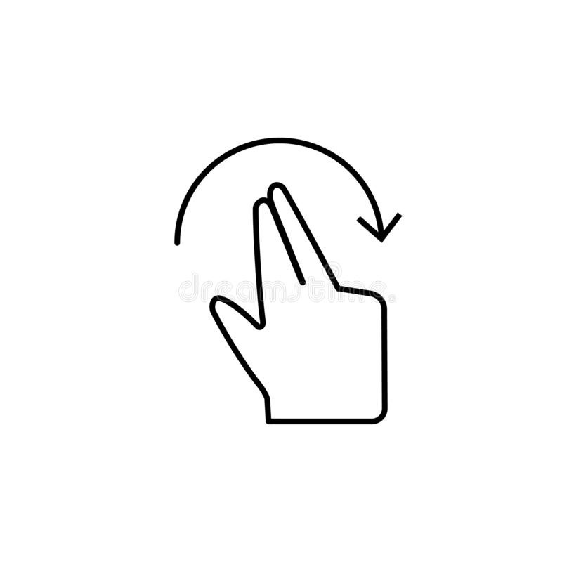 Hand gesture, touch screen icon. Element of corruption icon. Thin line icon on white background. On white background royalty free illustration