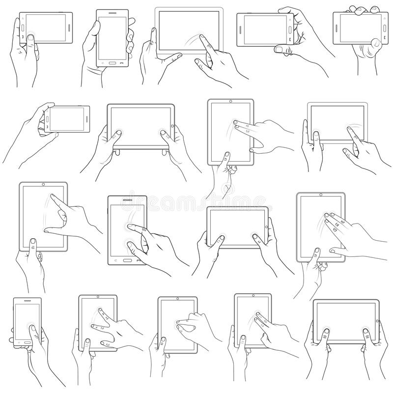 Hand Gesture for Touchscreen royalty free illustration