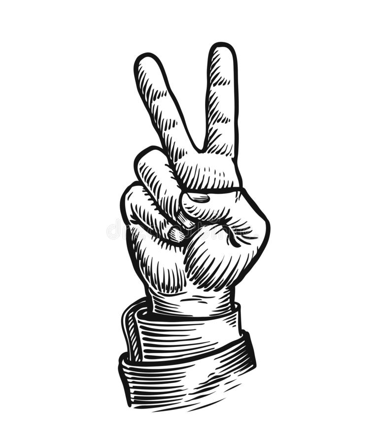 Hand gesture of victory or peace. Success symbol. Sketch vintage vector illustration royalty free illustration