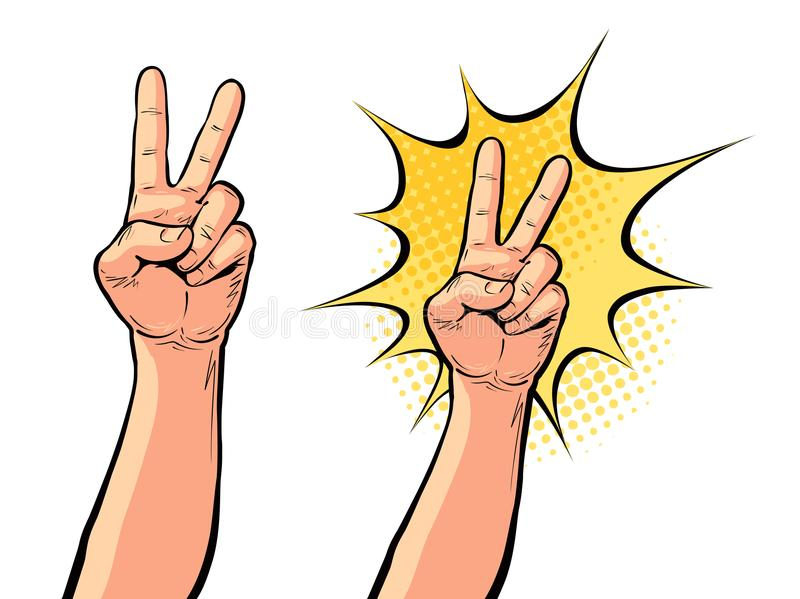 Hand gesture of victory or peace, two fingers up. Vector illustration in pop art retro comic style royalty free illustration