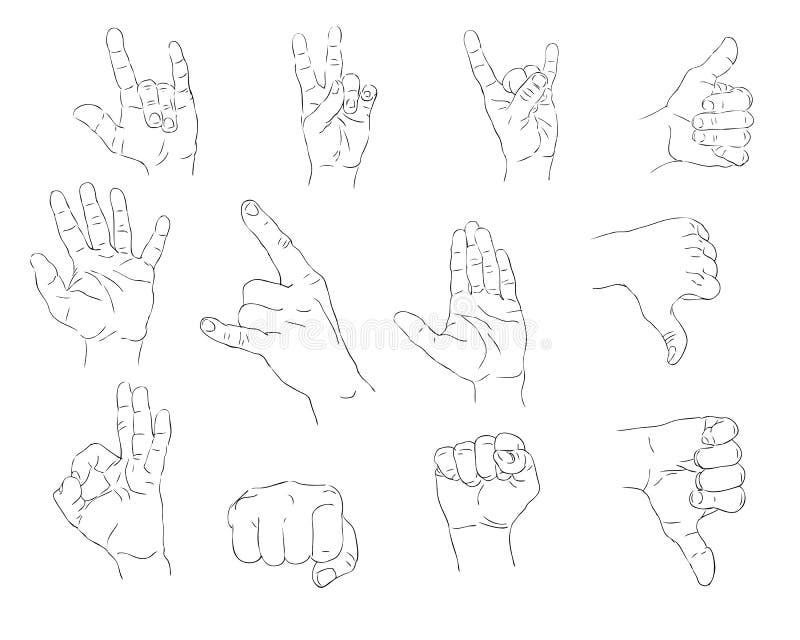 Download Hand gestures stock vector. Image of power, drawn, five - 18217026