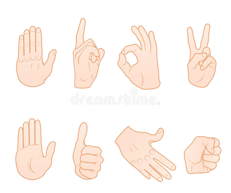 Hand gestures stock illustration
