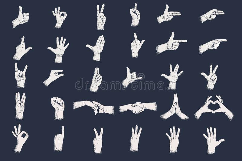 Hand gestures with grunge dots shadow texture. Digits hand gestures. royalty free illustration