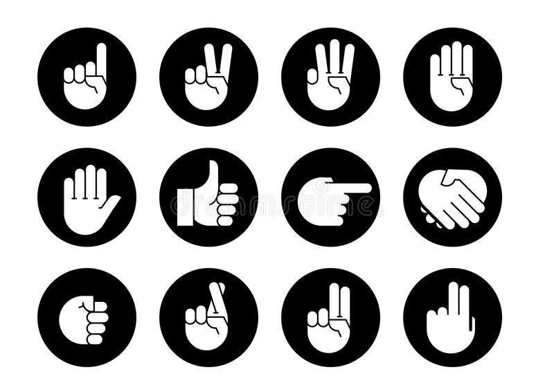 Hand gestures. icons set. Hand gestures. set of icons. Flat style vector icons, emblem, symbol For Your Design vector illustration