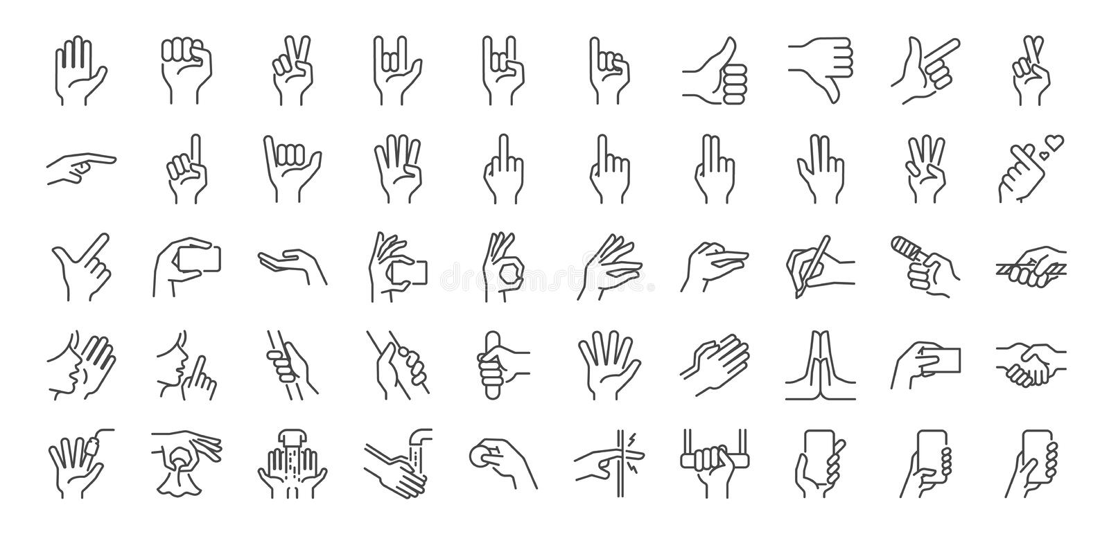Hand gestures line icon set. Included icons as fingers interaction, pinky swear, forefinger point, greeting, pinch, hand washing stock illustration