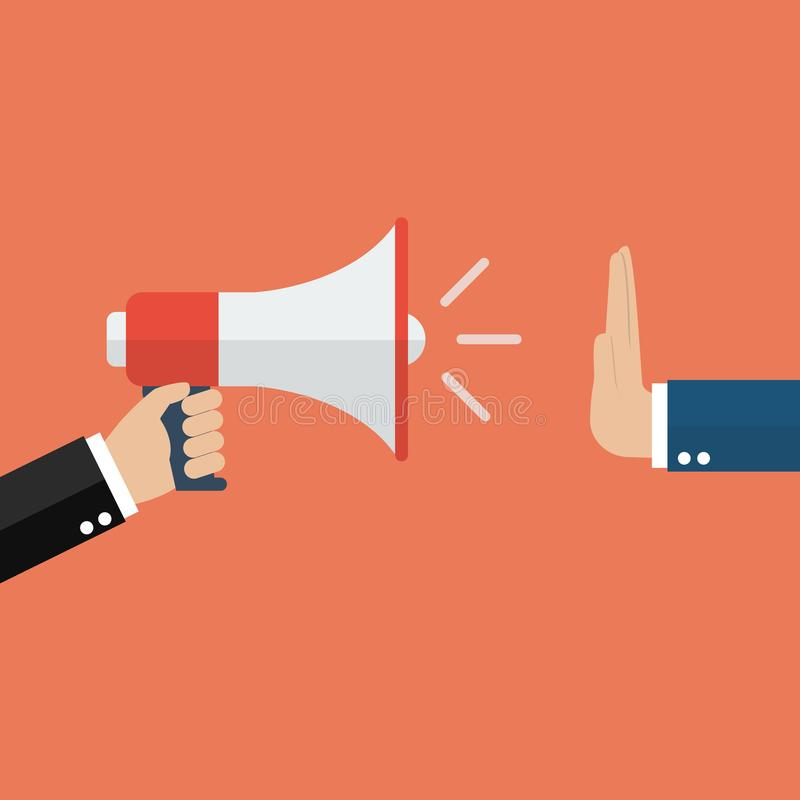Hand gestures no to megaphone royalty free illustration