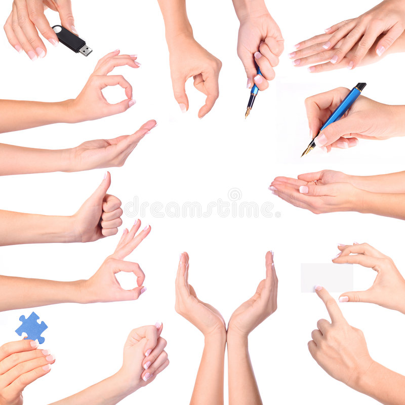 Hand gestures set, isolated royalty free stock photography