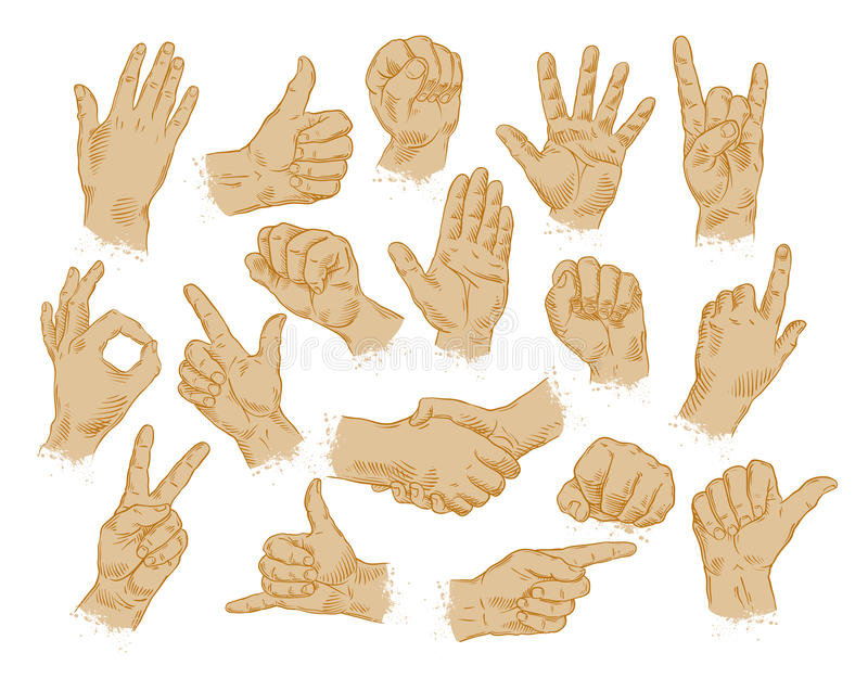 Hand gestures. set of vector symbols and icons vector illustration
