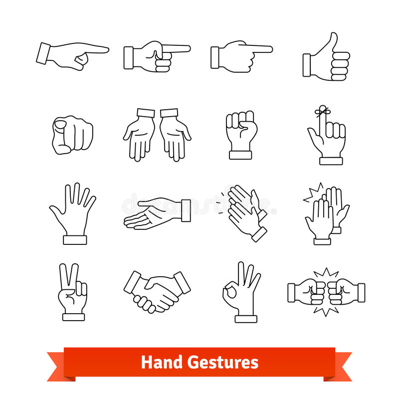 Hand Gestures Thin Line Art Icons Set Stock Vector Illustration Of