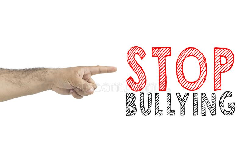 Hand gesturing with index finger to inscription: Stop bullying.  stock image