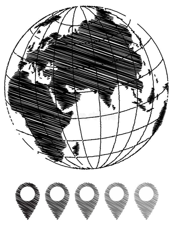 Hand getrokken aardebol royalty-vrije illustratie