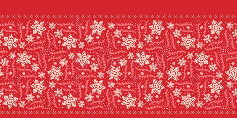 Hand getrokken abstract de grenspatroon van de de wintersneeuwvlok Modieuze kristalsterren Rode ecru zwart-wit achtergrond Elegan royalty-vrije illustratie