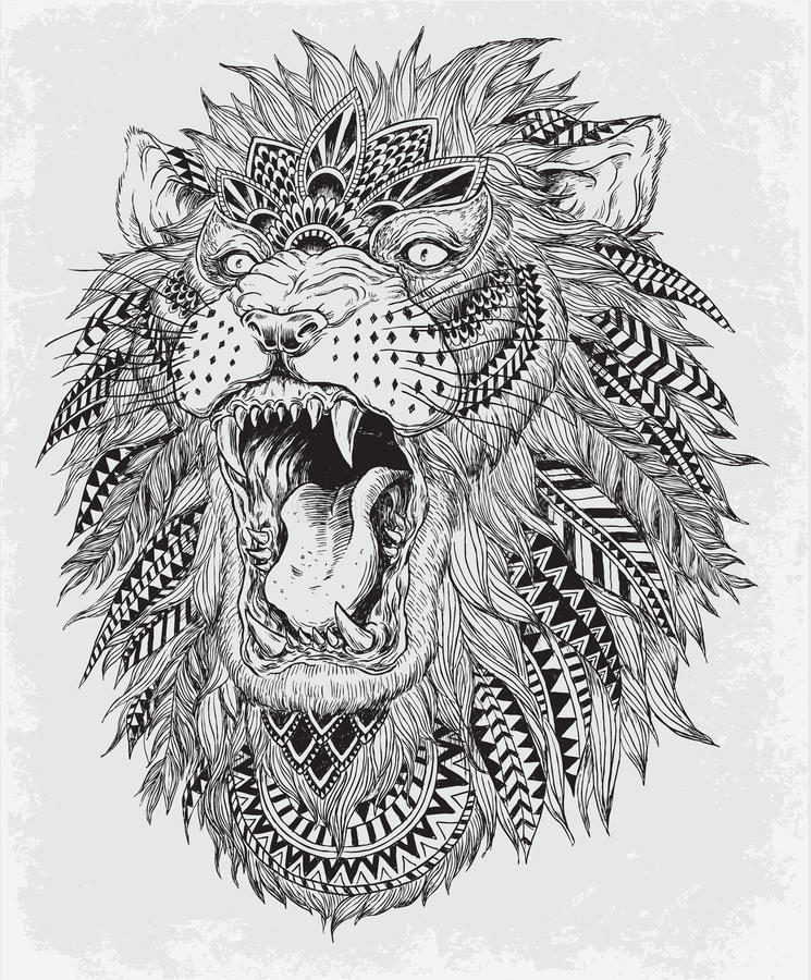 Hand Getrokken Abstract Lion Vector Illustration royalty-vrije illustratie