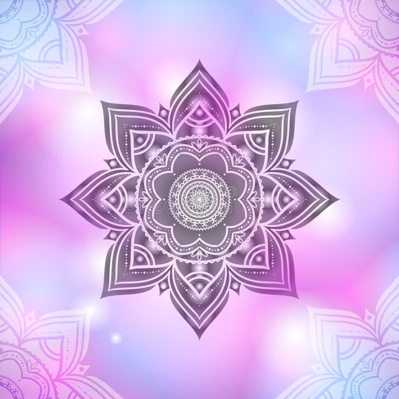 Hand getrokken abstract mandalapatroon op vaag pastelkleurroze backg stock illustratie