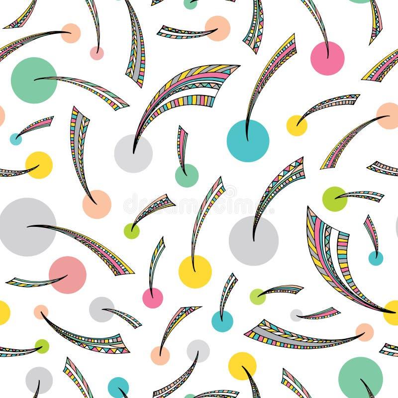 Hand getrokken abstract naadloos patroon in de stijl van Memphis Vector gestileerde driehoeken en cirkels kleurrijke achtergrond royalty-vrije illustratie