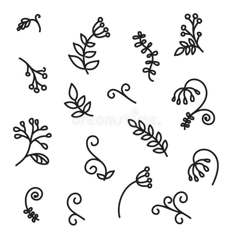 Hand getrokken abstracte bloemenelementen royalty-vrije illustratie