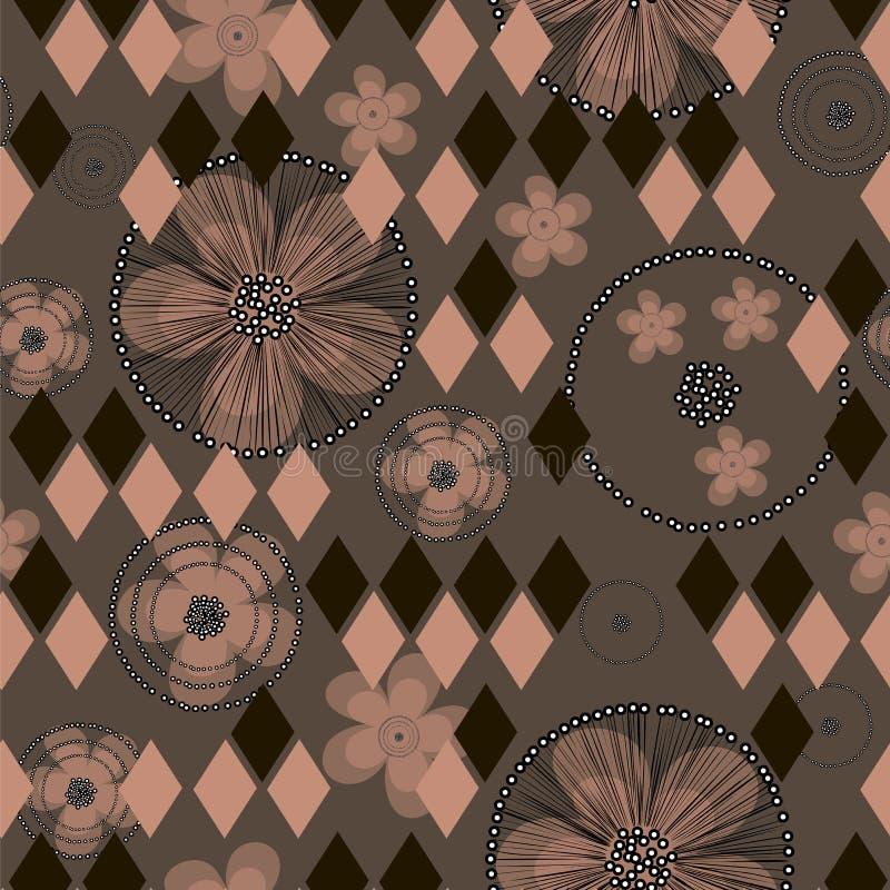 Hand getrokken abstracte boterbloemenbloemen en ruiten op bruine achtergrond vector illustratie