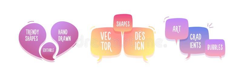 In hand getrokken abstracte geometrische bellen Vectordiekrabbelbanner voor uw tekst met diverse kleuren wordt geplaatst Modern m stock illustratie