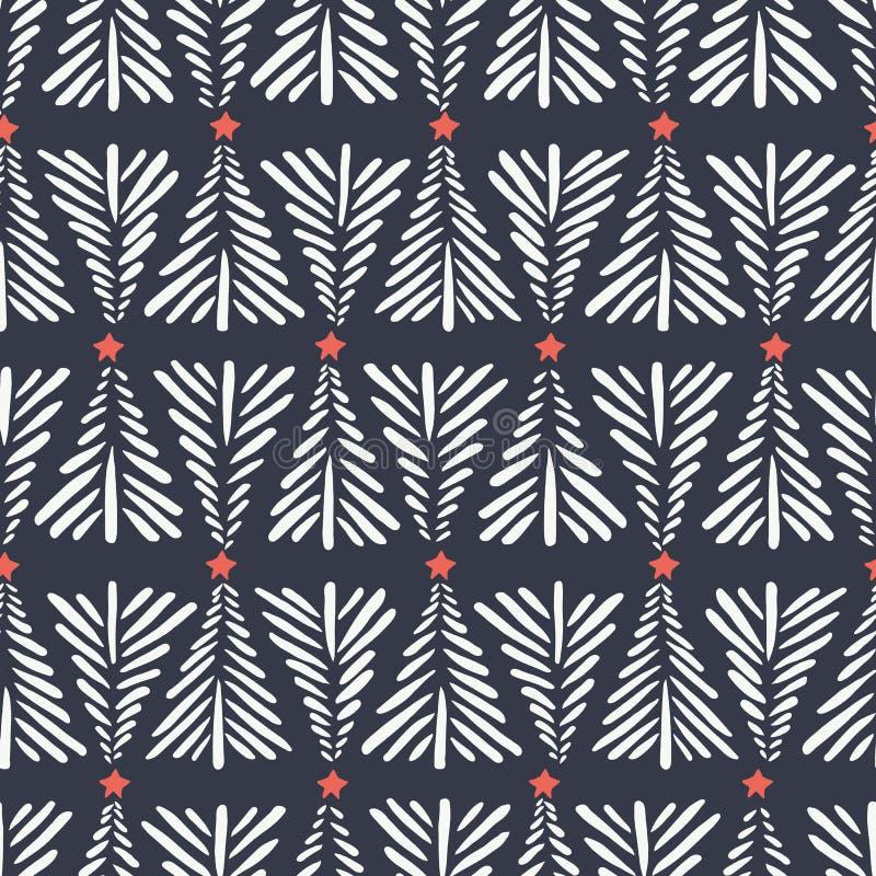 Hand getrokken abstracte Kerstbomen, rode sterren op donker vector naadloos patroon als achtergrond De winter Vakantie Skandinavi royalty-vrije illustratie